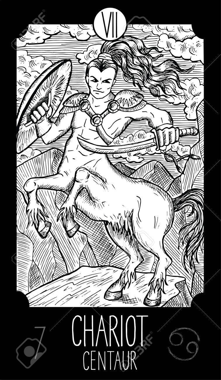 Centaure. Illustration d'art ligne gravée fantaisie. Dessin vectoriel  gravé. Voir toute la collection dans mon ensemble de portefeuille.