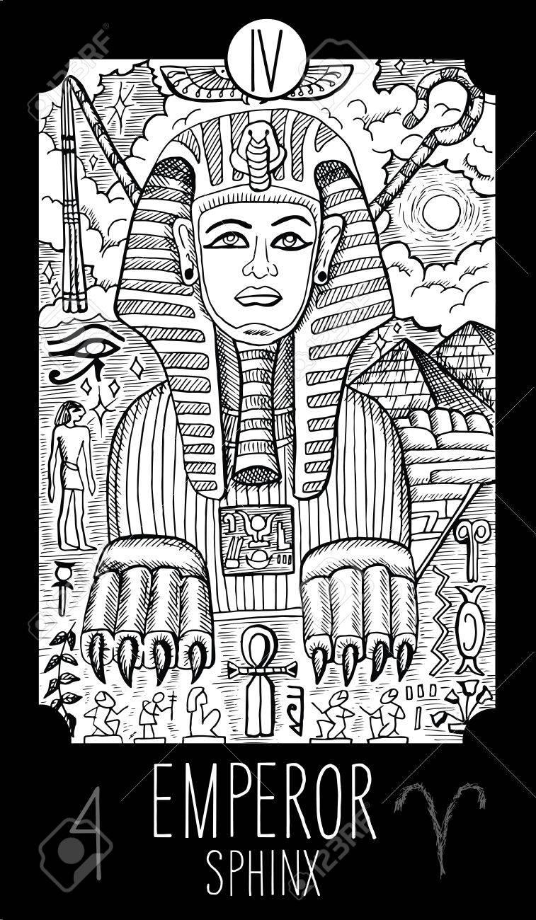 Kaiser. 4 Große Arcana Tarot Karte. Sphinx. Fantasie Gravierte Linie ...