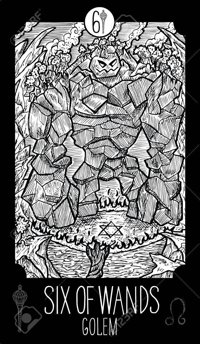 ワンドの 6 人ゴーレム小アルカナのタロット カードファンタジー