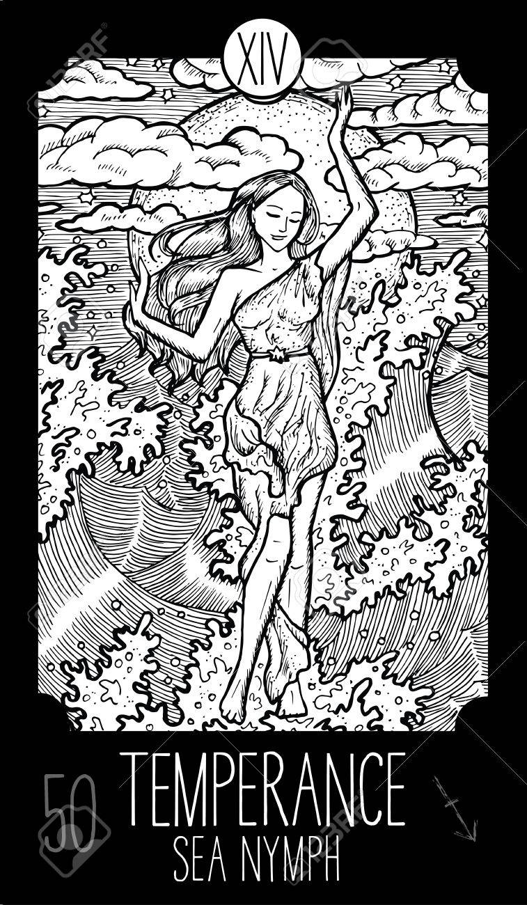 Temperance  14 Major Arcana Tarot Card  Sea Nymph  Fantasy engraved
