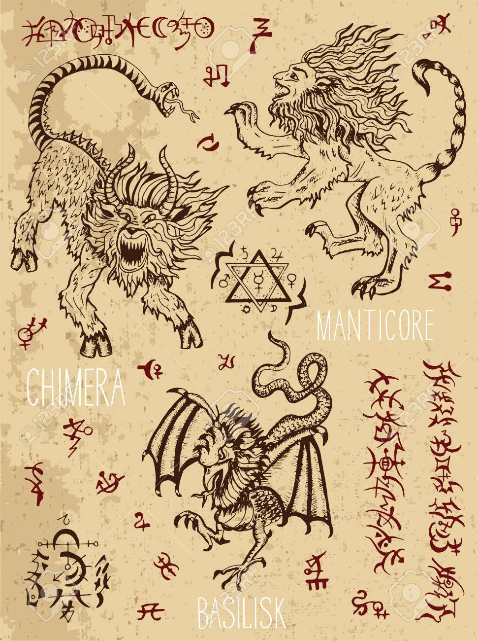Monsters collection with occult and mystic symbols hand drawn monsters collection with occult and mystic symbols hand drawn engraved vector illustration there is biocorpaavc