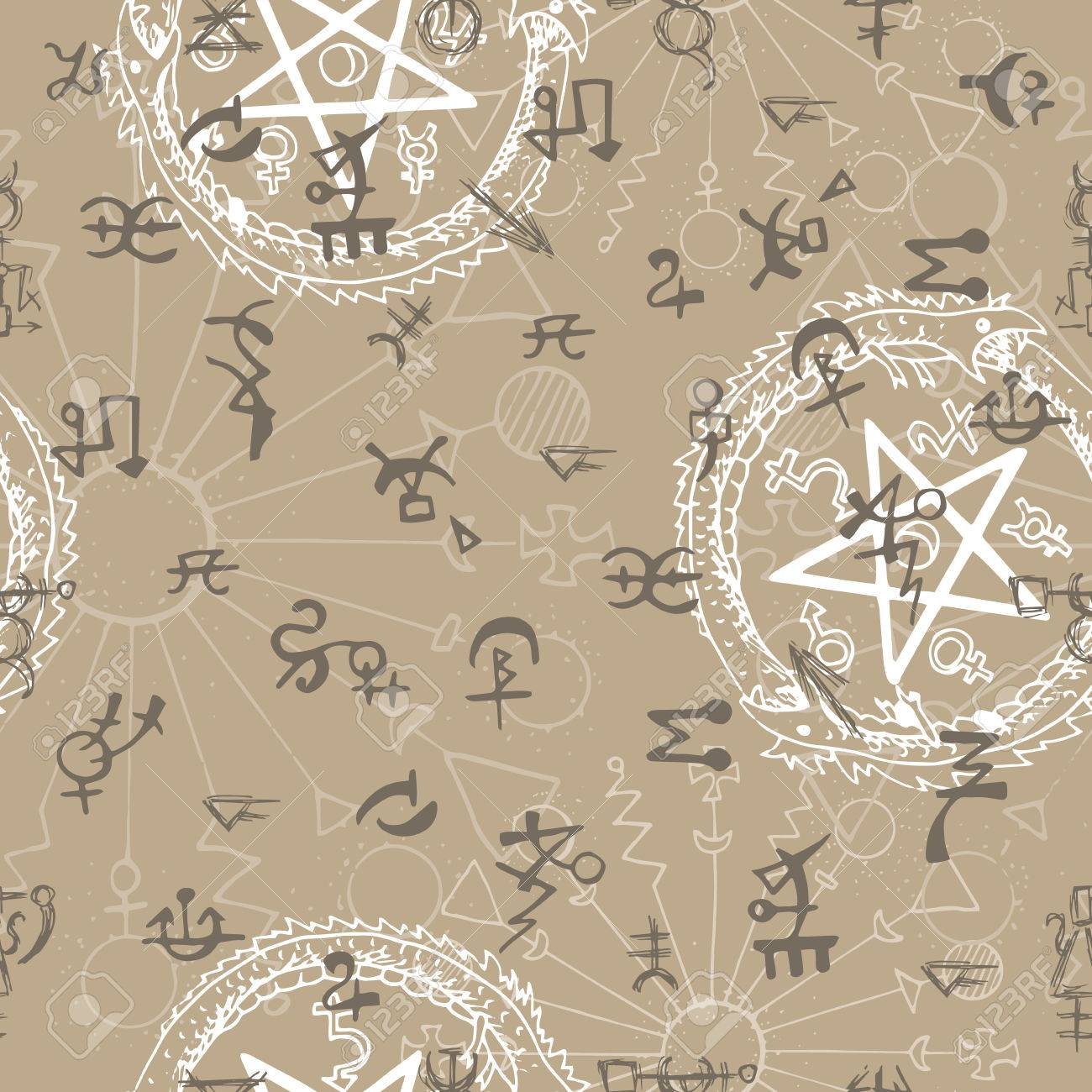 Seamless background with mystic and occult symbols hand drawn seamless background with mystic and occult symbols hand drawn vector illustration there is no biocorpaavc