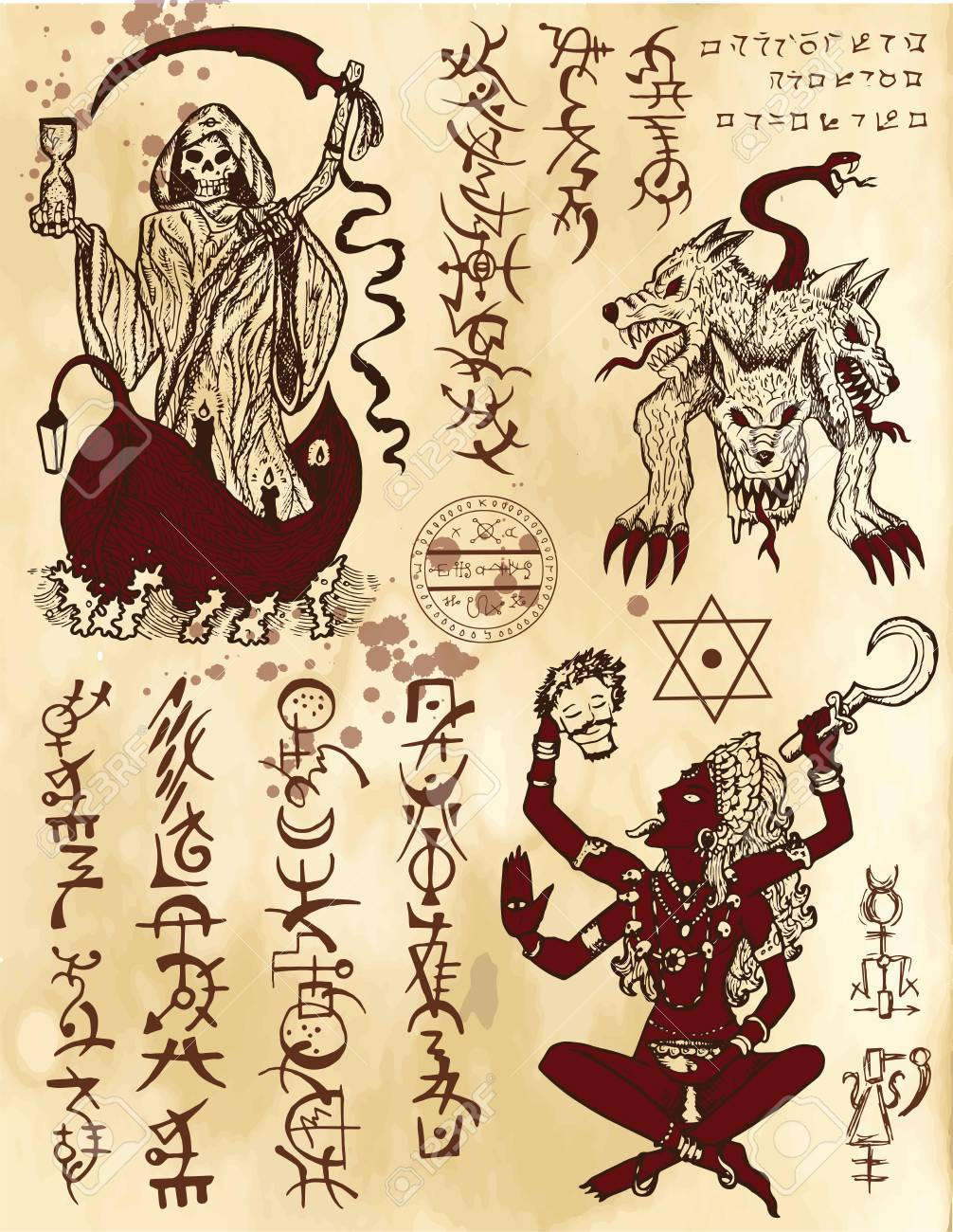 Graphic collection with death religious and mystic symbols hand graphic collection with death religious and mystic symbols hand drawn engraved vector illustration there biocorpaavc