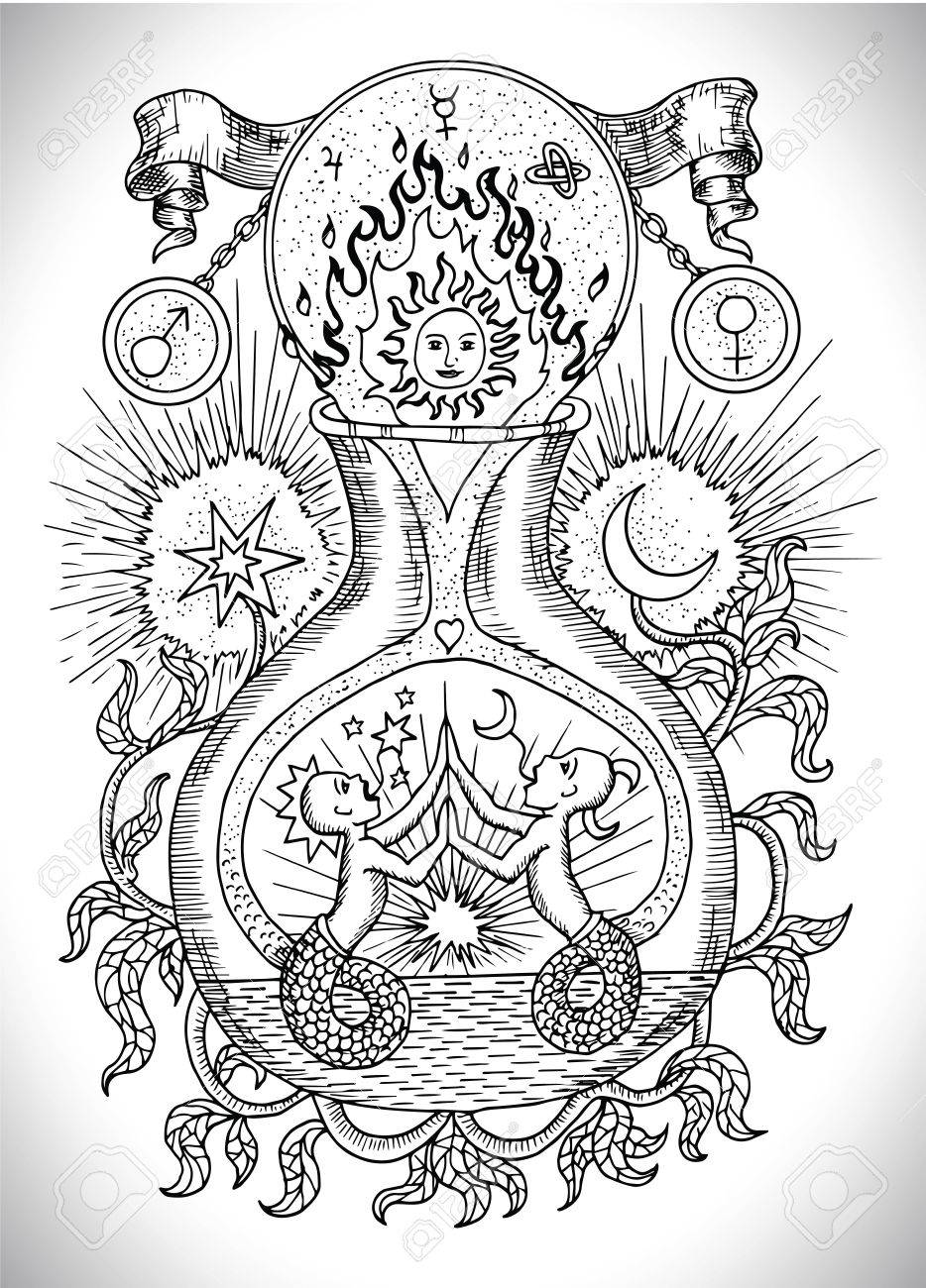 Black And White Drawing With Mystic Spiritual And Alchemical