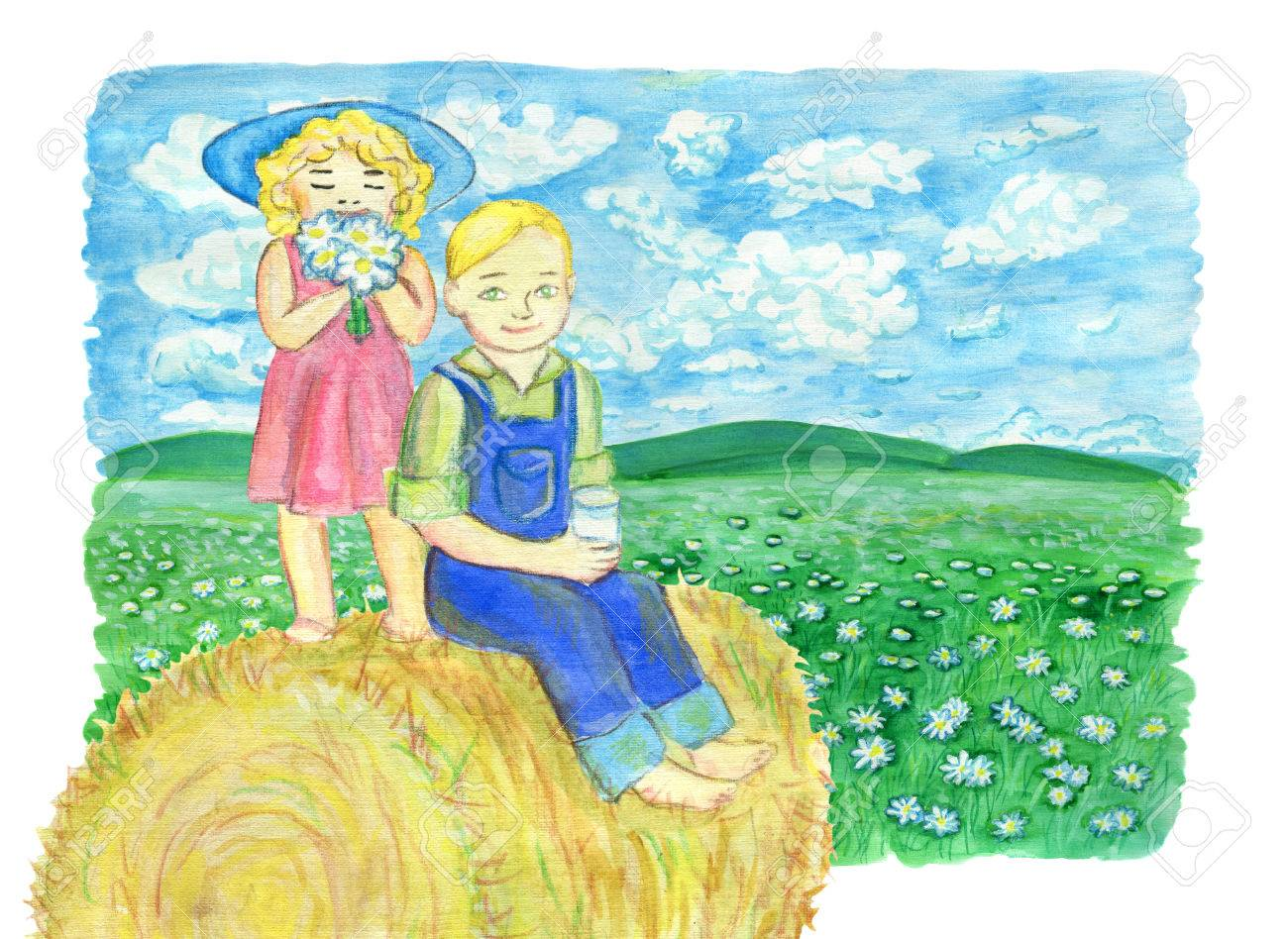 Brother and sister drinking milk and sitting on haystack in the field.  Vintage rural background