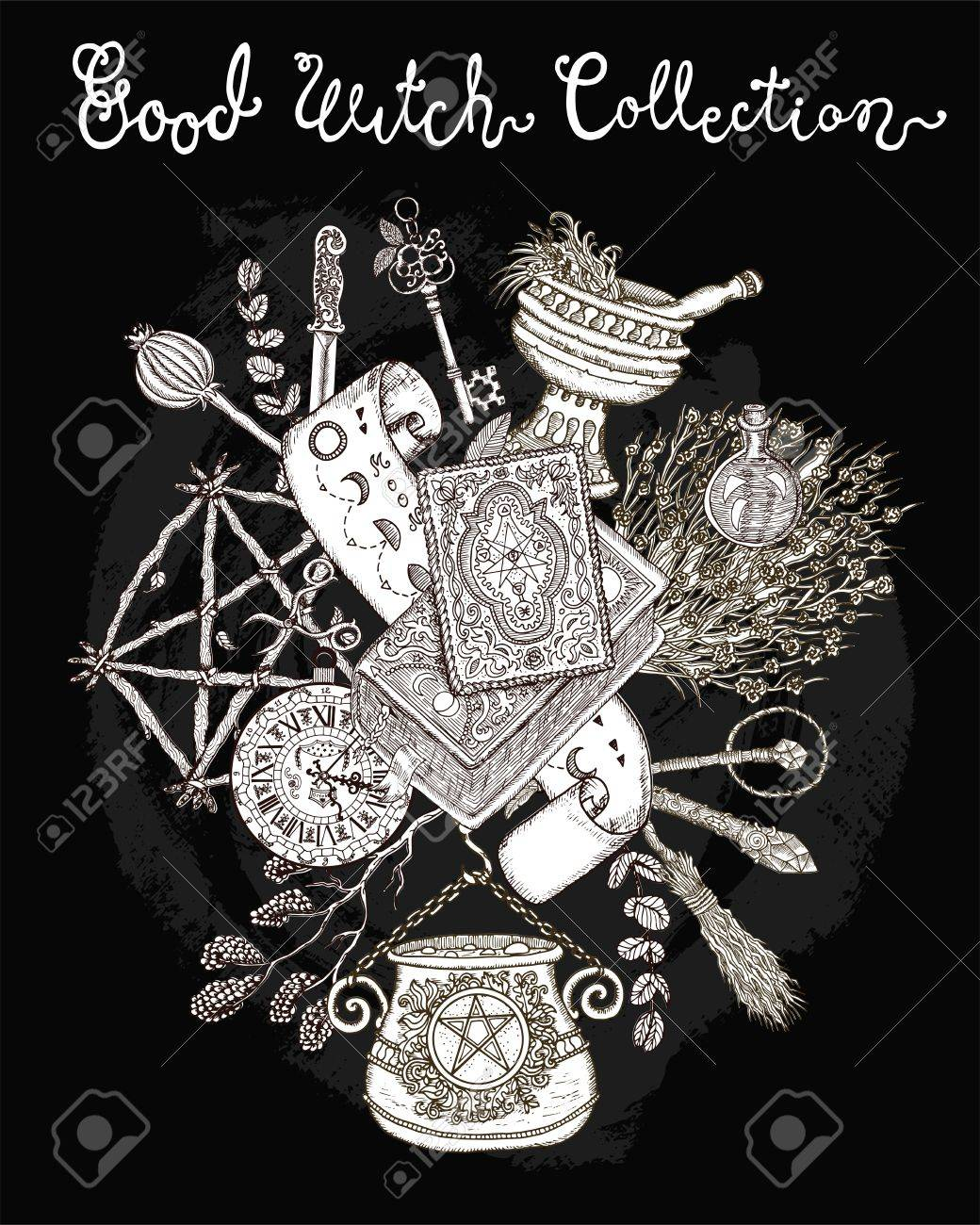 Halloween Background With Traditional Symbols, Witch Magic