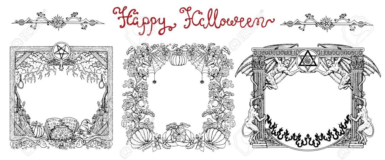 Dibujado A Mano Conjunto Con Marcos De Halloween Y Letras En Blanco ...