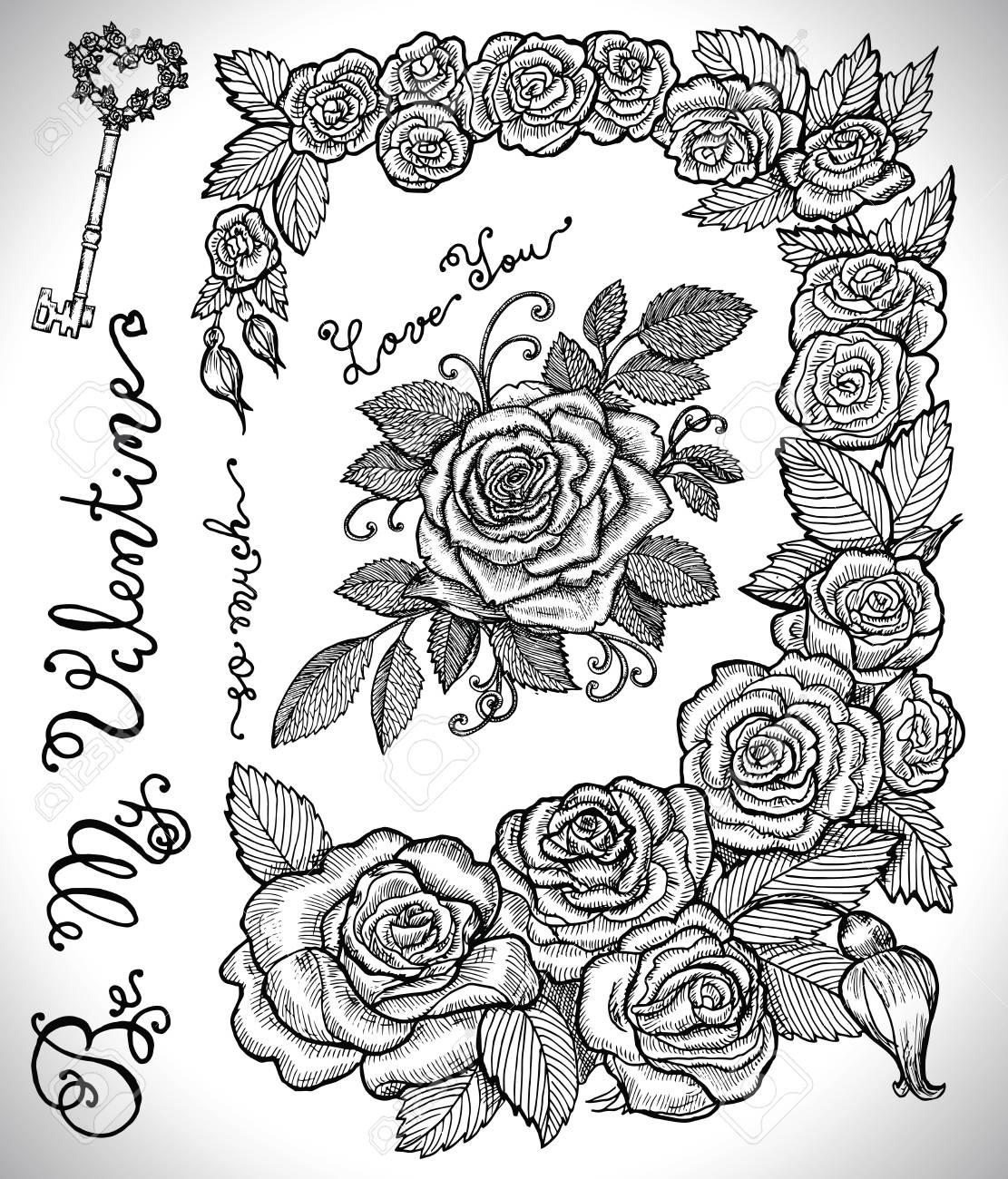 Diseño Conjunto Con Marco De Rosas Clave Letras Y Rosa Con Hojas Colección Gráfica Para Decoraciones Antiguas Tarjeta Mano Dibuja La Ilustración