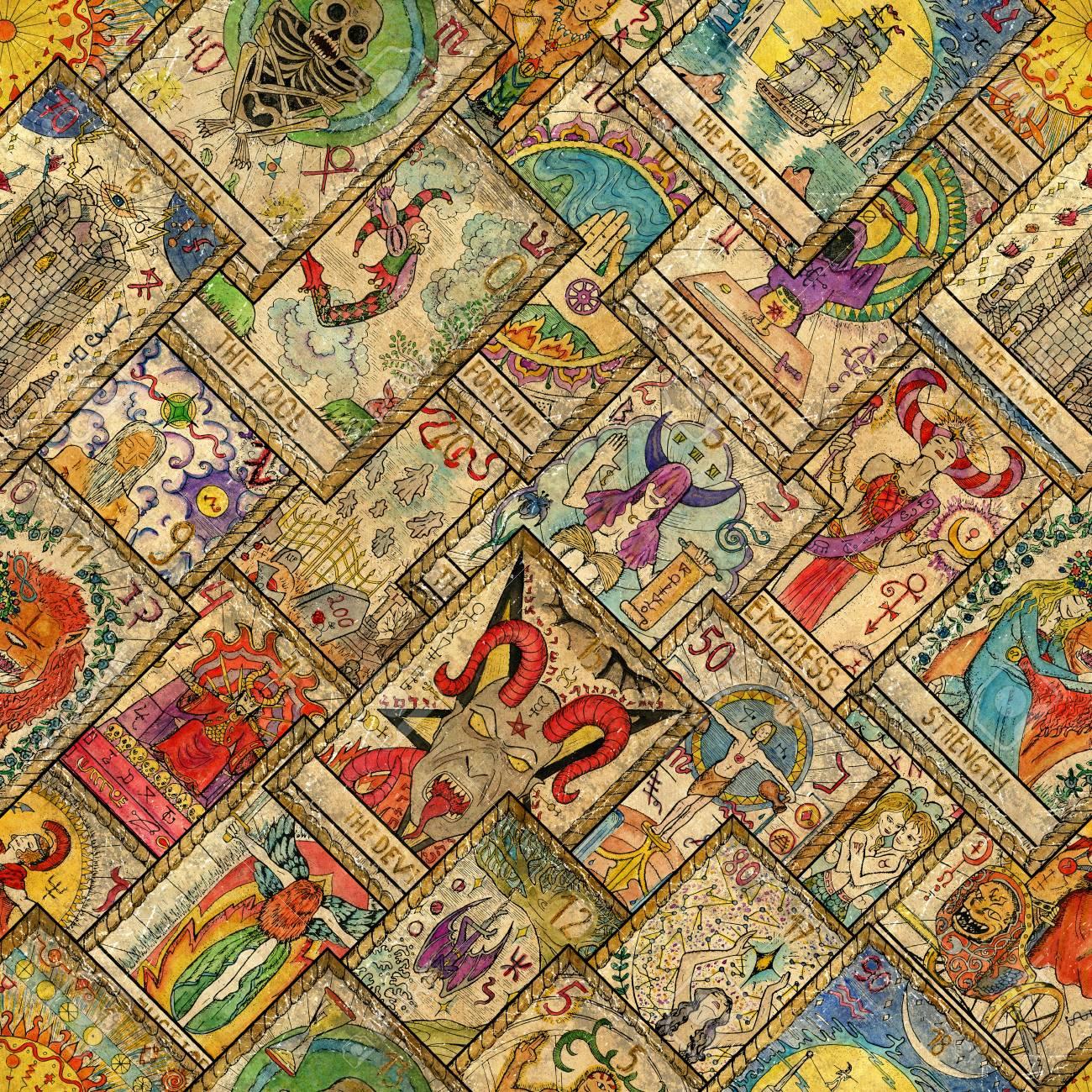 1e78f72efeb Modèle sans couture avec cartes de tarot dessinés à la main en disposition  diagonale. Concept occulte, ésotérique, divination et wicca. Fond ...