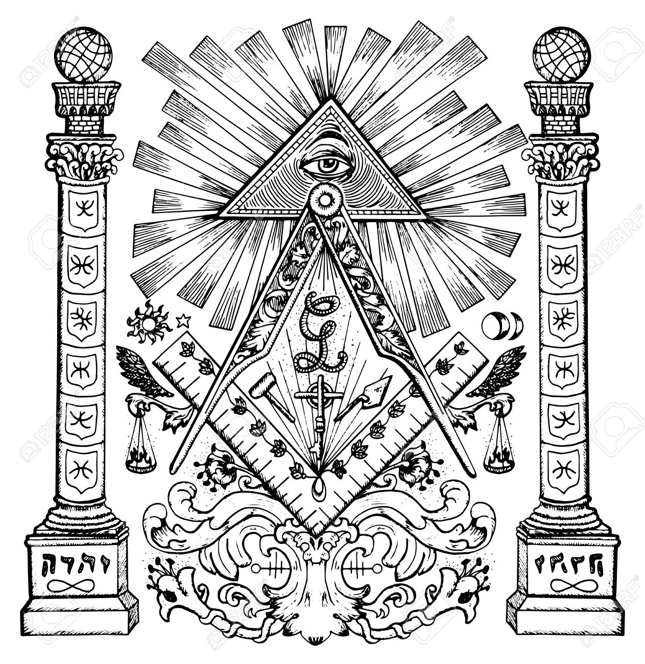 Graphic Illustration With Mason Mysterious Symbols Freemasonry