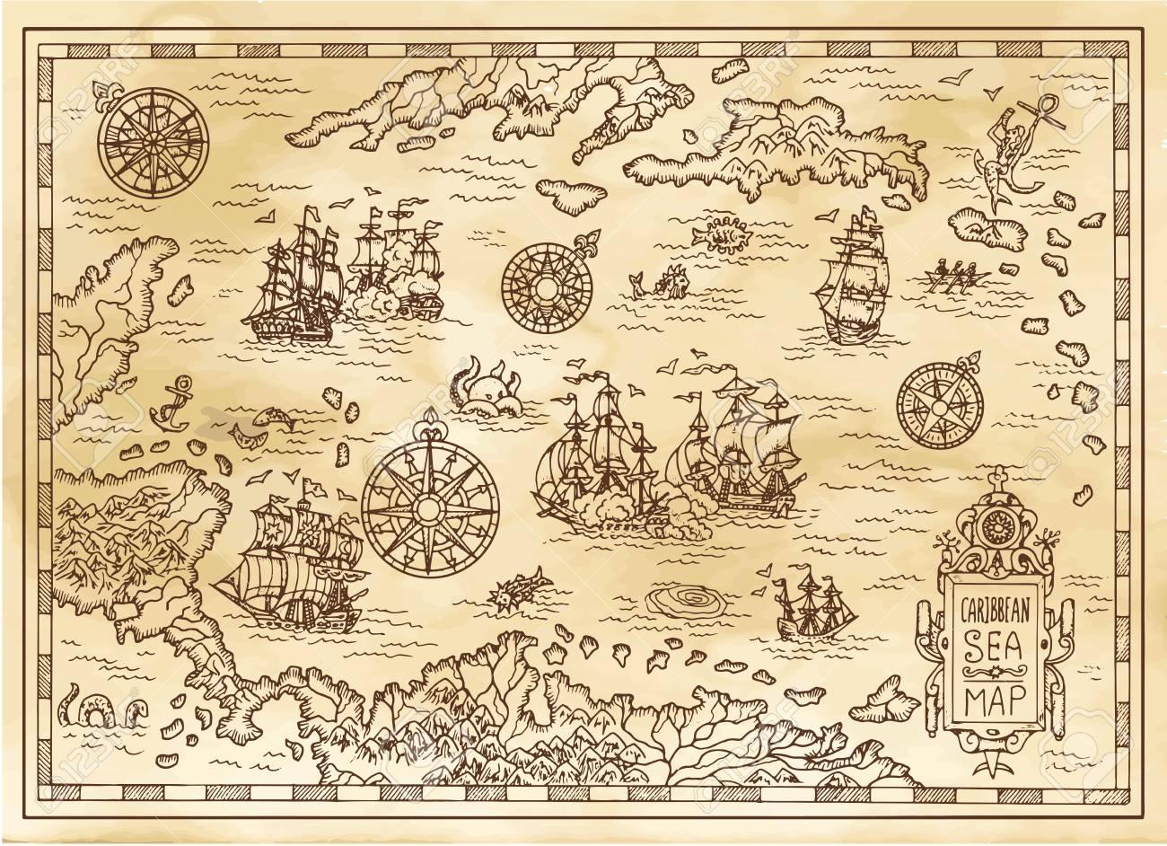 Antiguo Mapa Pirata Del Mar Caribe Con Barcos Islas Y Criaturas