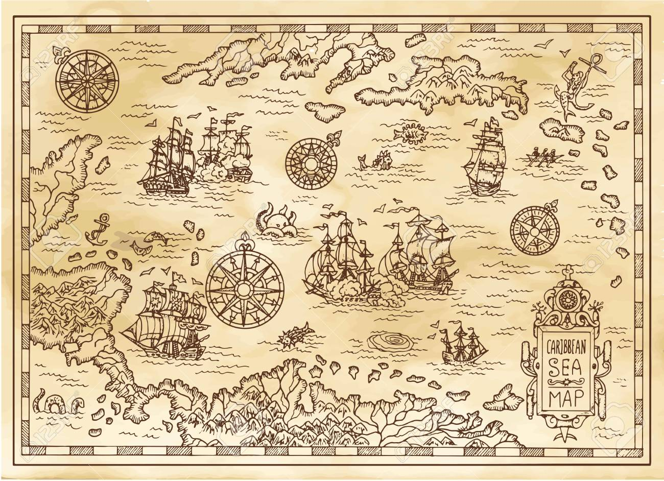 Ancient pirate map of the Caribbean Sea with ships, islands and fantasy creatures. Pirate adventures, treasure hunt and old transportation concept. Hand drawn vector illustration, vintage background - 94115908