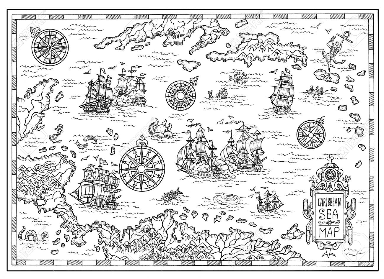 Black And White Pirate Map Of The Caribbean Sea With Old Ships ...