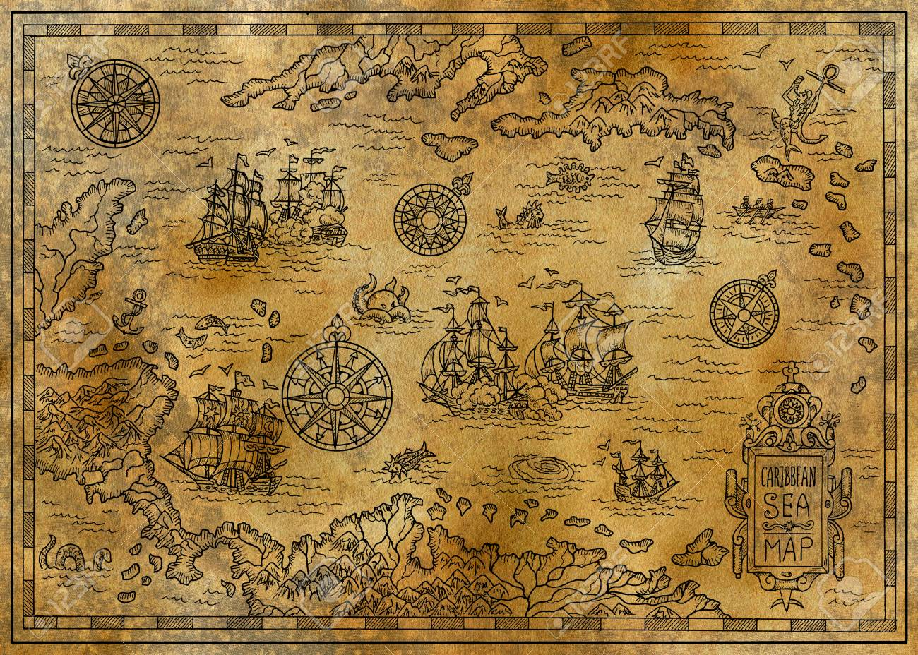 Old Map Of The Caribbean Sea With Decorative And Fantasy Elements ...
