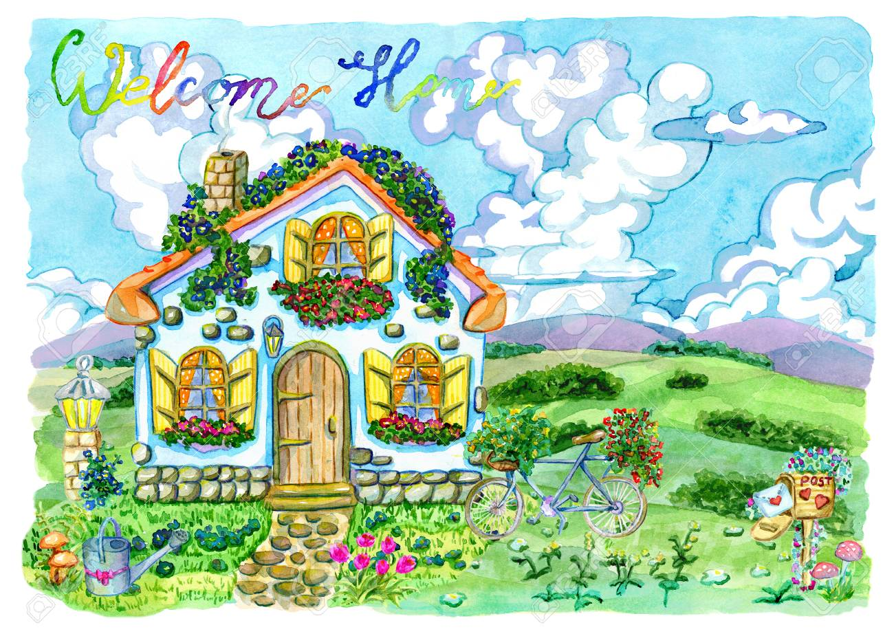 Small House With Cute Windows Beautiful Garden And Lettering