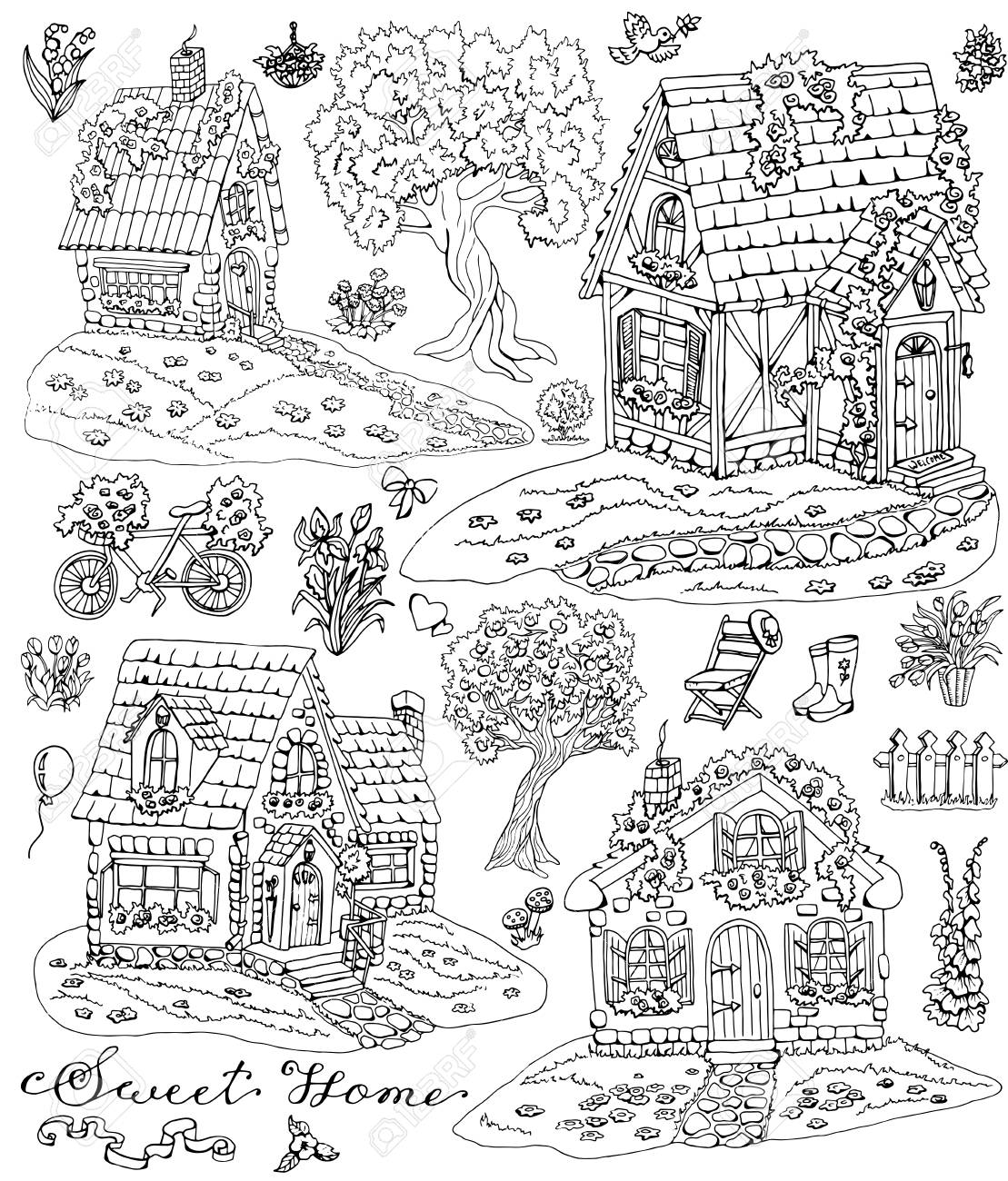 Coloring Page With Cute Country Cottages Trees Flowers And