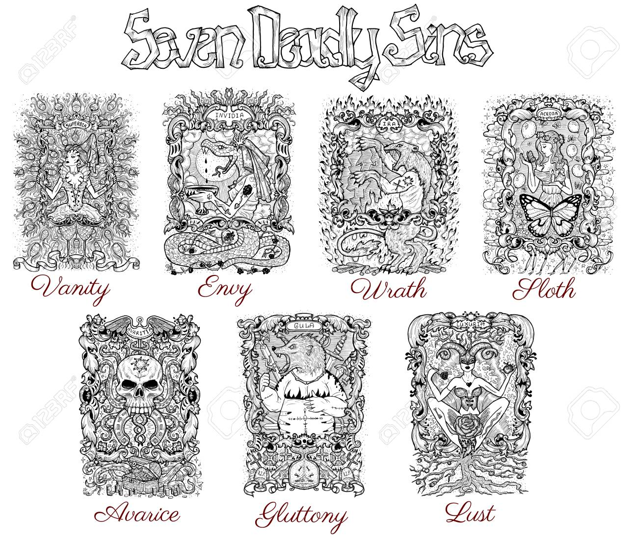 Illustration set with seven deadly sins characters in frames black and white line art hand drawn engraved illustration tattoo and t shirt design