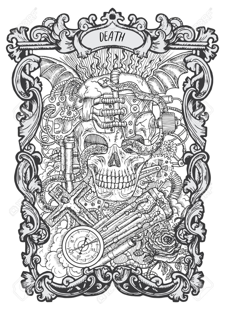 Death. Major Arcana tarot card. The Magic Gate deck. Fantasy engraved vector illustration with occult mysterious symbols and esoteric concept - 106878517