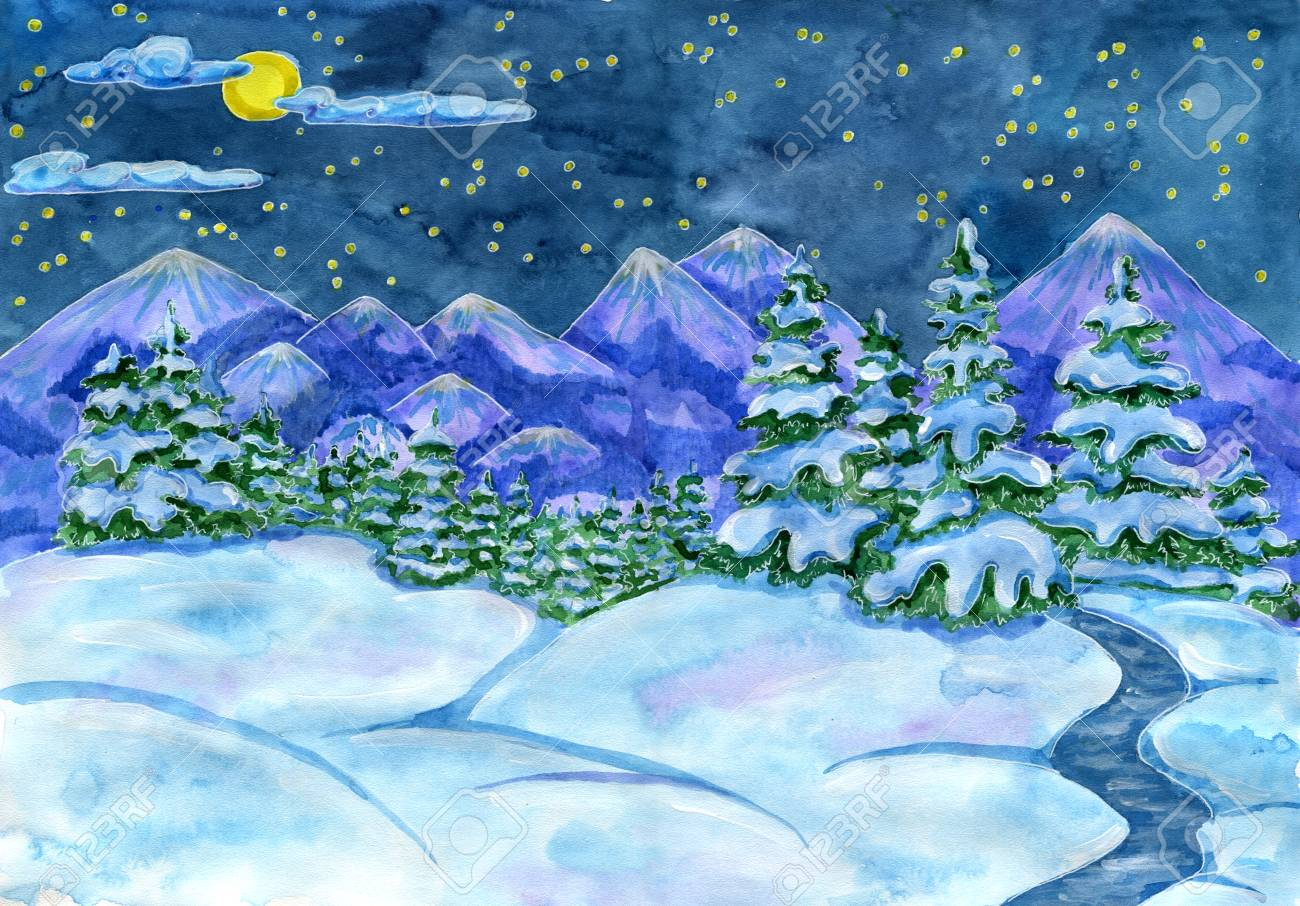 christmas and new year snow landscape with fir forest star night sky and mountains