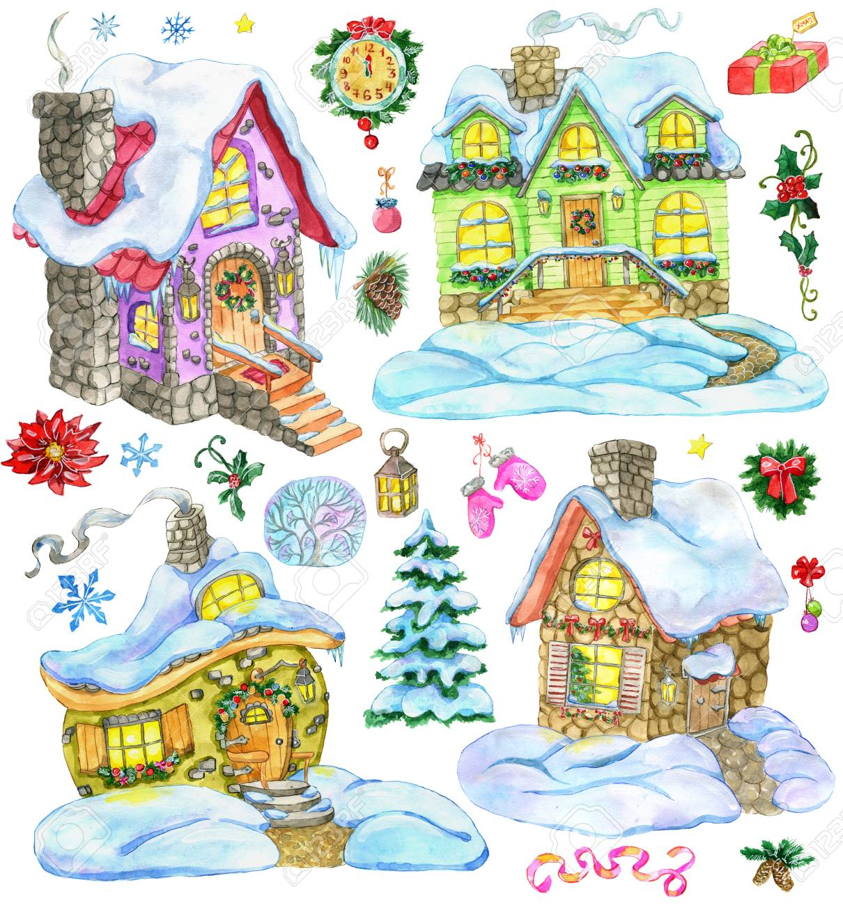 christmas and new year design set with cute country houses and holiday decorations hand painted