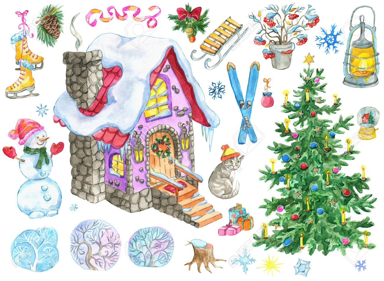 Christmas And New Year Design Set With Country House Decorated