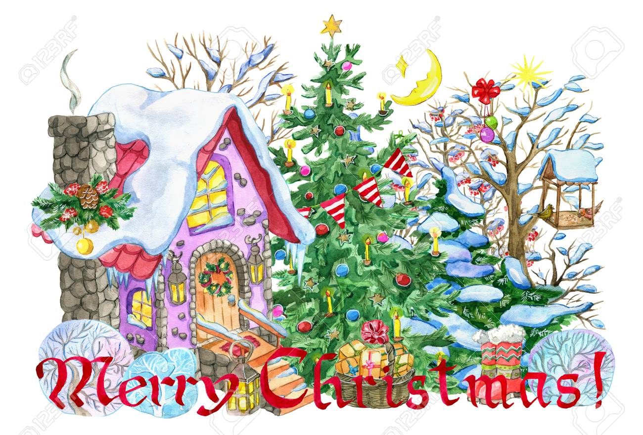New Year Greeting Card With Cute Cottage House Decorated Conifer