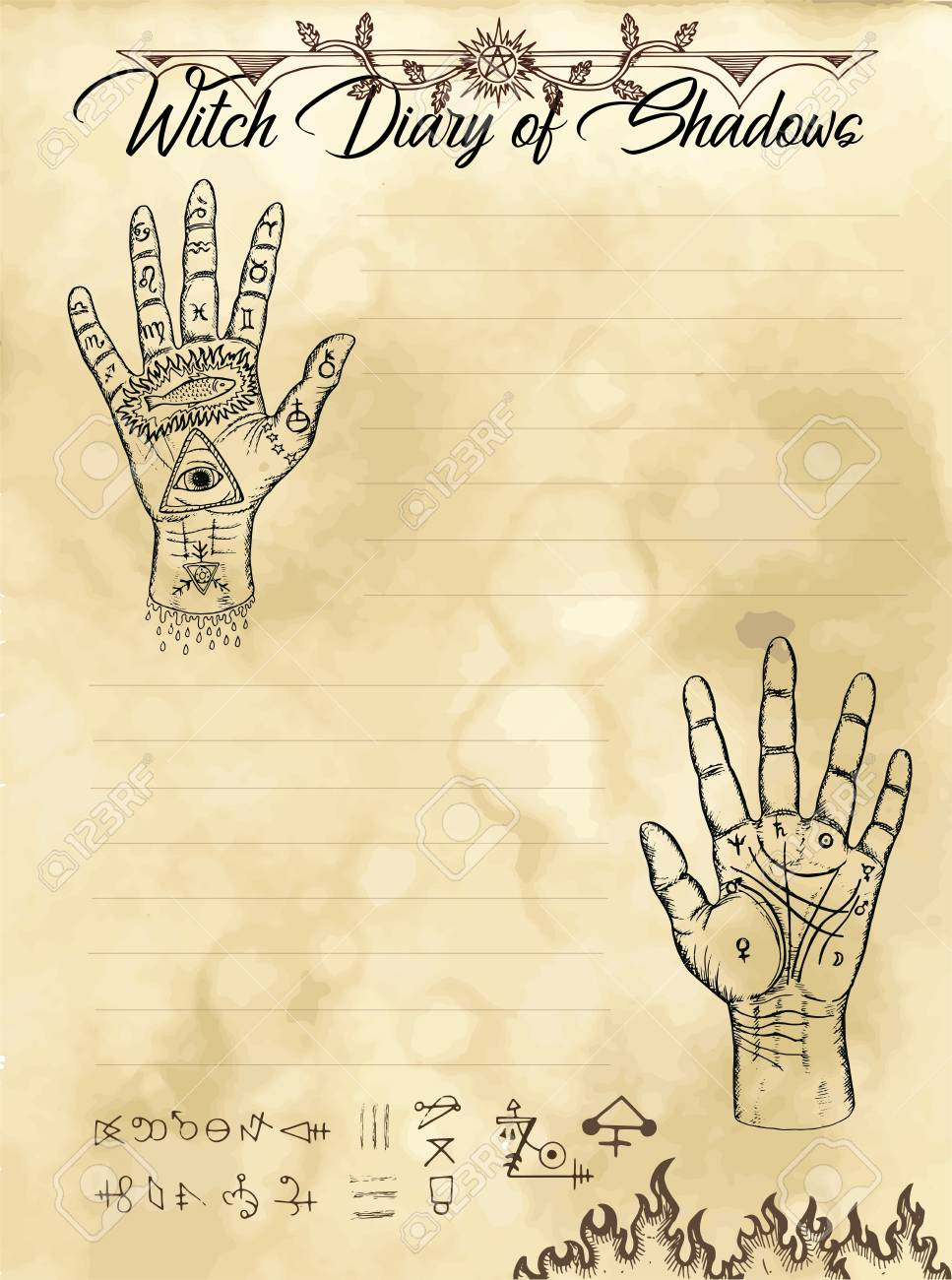 Witch diary page 12 of 31 with palm hand reading and chiromancy