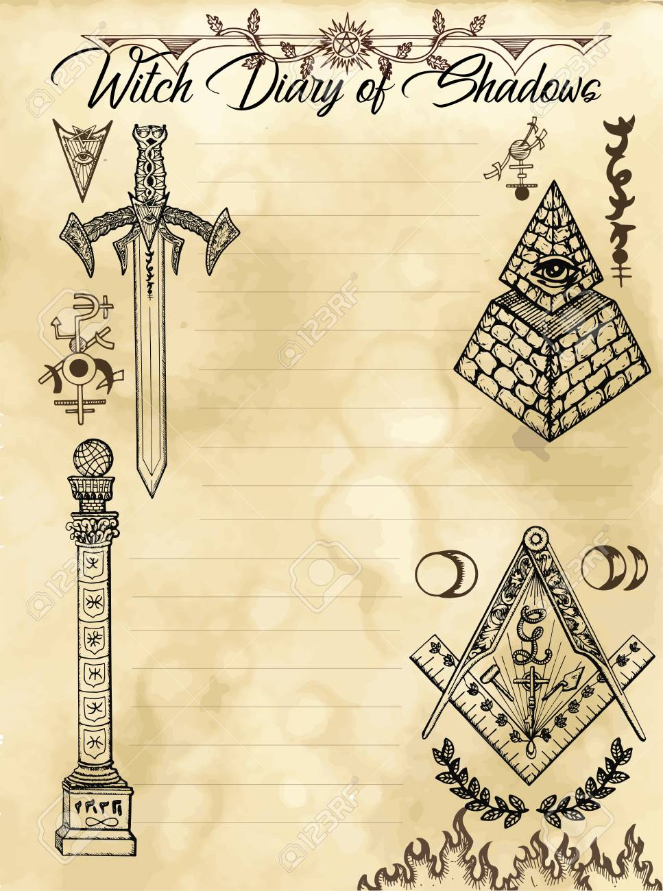 Witch diary page 31 of 31 with freemasonry and secret society