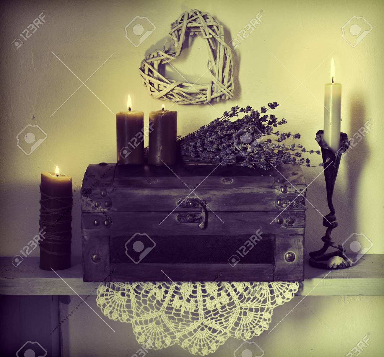Candles Lavender Flowers Old Wooden Box And Heart Symbol On