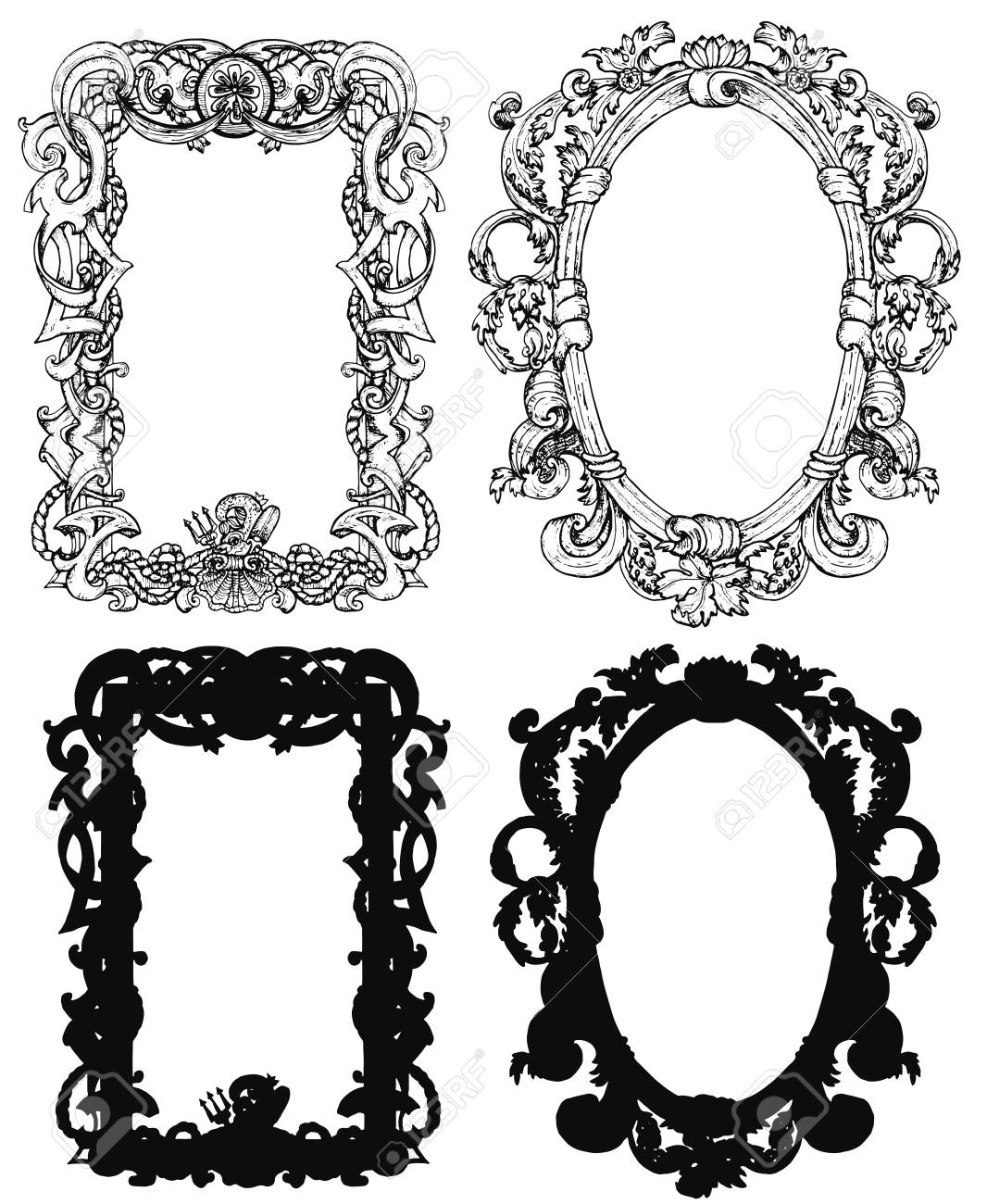 Design Set With Antique Baroque Frames In Victorian Style Isolated Royalty Free Cliparts Vectors And Stock Illustration Image 118954519