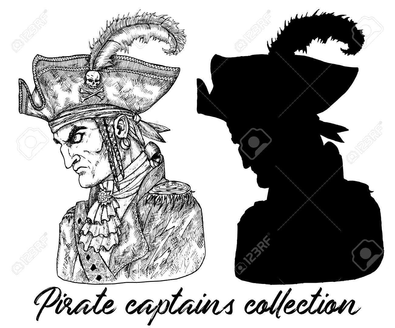Pirate captain in hat and silhouette isolated on white  Hand