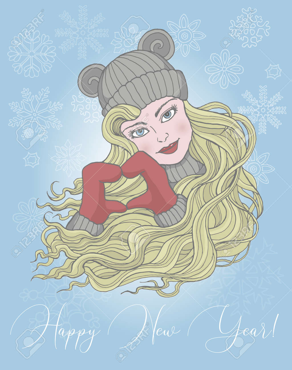 Christmas and New Year greeting card with happy girl in mittens showing heart symbol. Vector hand drawn doodle illustration, seasonal background, design element for banners, invitations - 157028542
