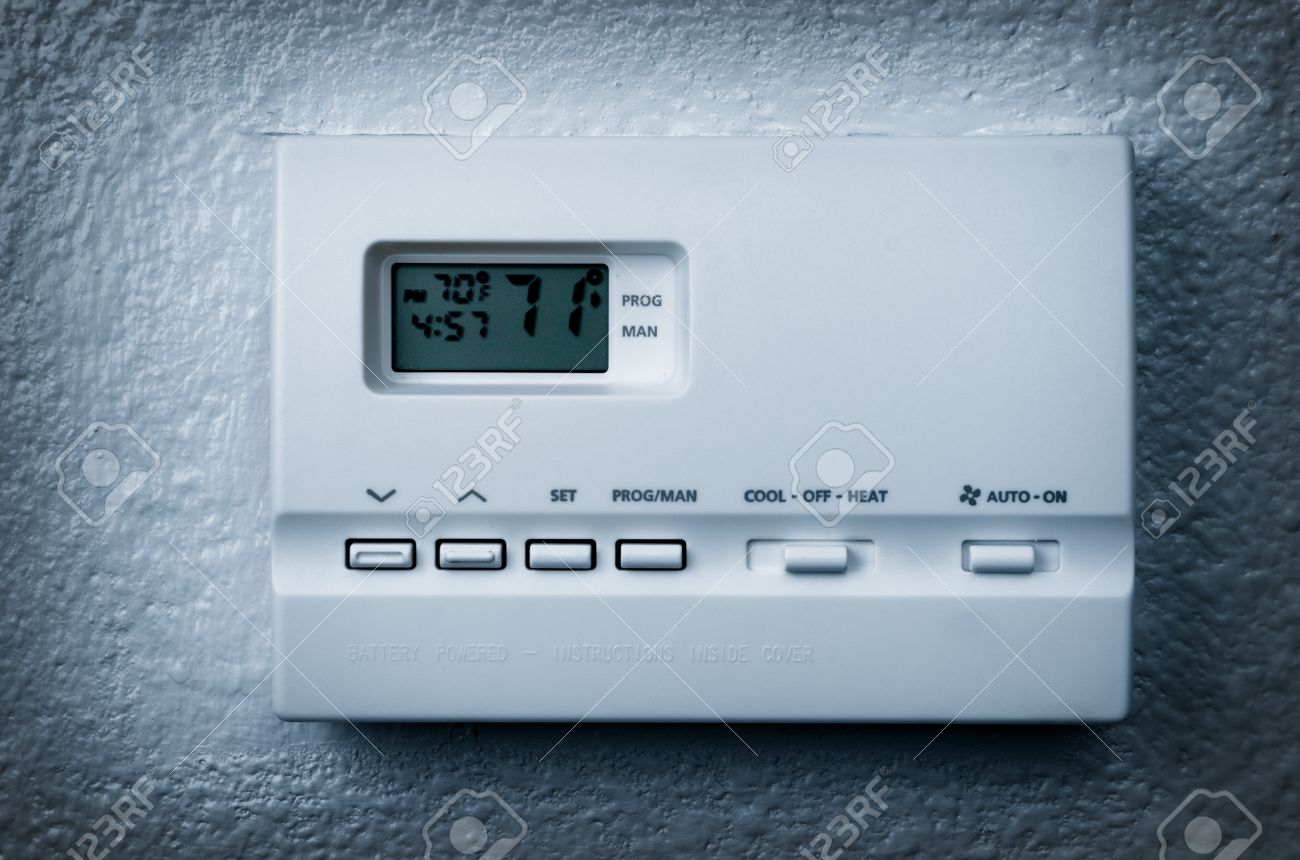 air conditioning control panel on a wall, blue Vignetting Stock Photo -  12421916