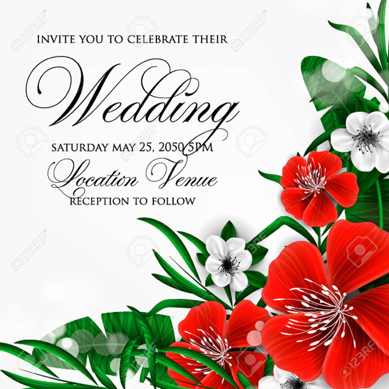 Wedding Invitation With Hibiscus And Cakura Flowers, Palm Leaf ...