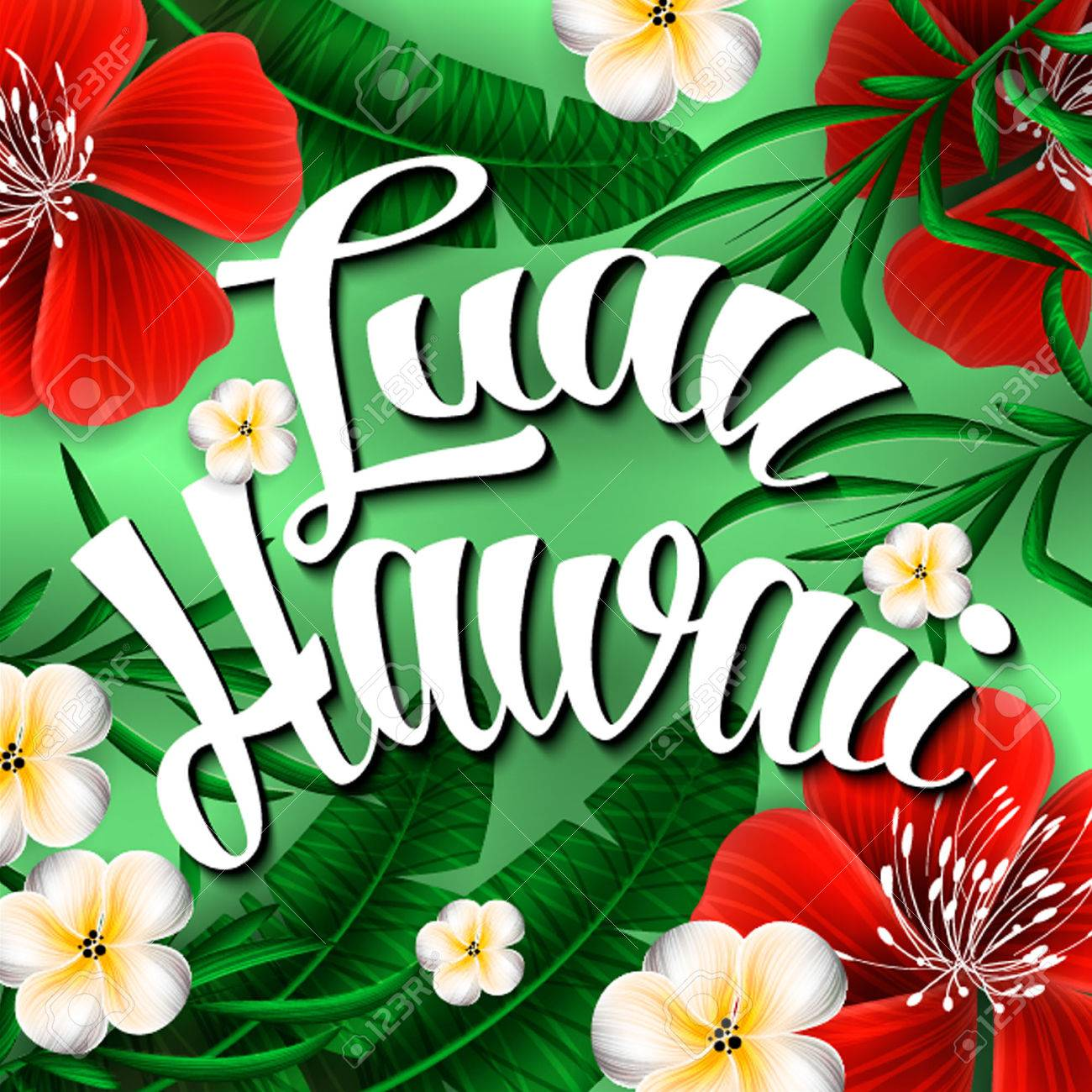 Luau hawaii invitation hand lettering exotic with tropical flowers luau hawaii invitation hand lettering exotic with tropical flowers stock vector 57412103 stopboris Gallery