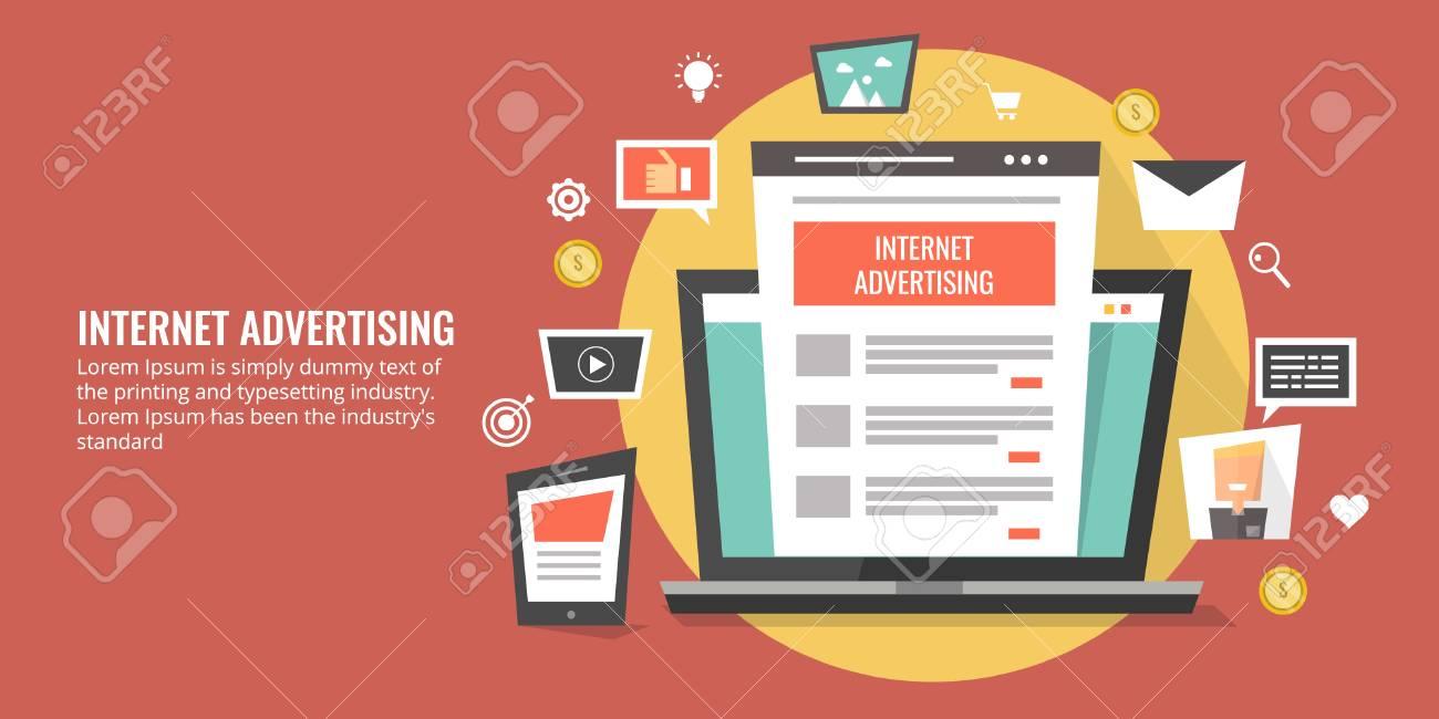 Internet advertising, online ads, digital marketing concept