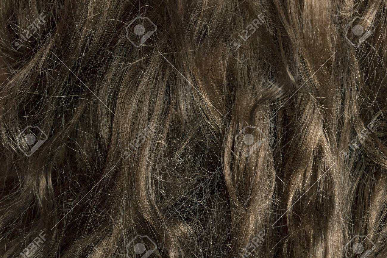 Dark Brown Dry Damaged Hair Closeup Background Stock Photo Picture