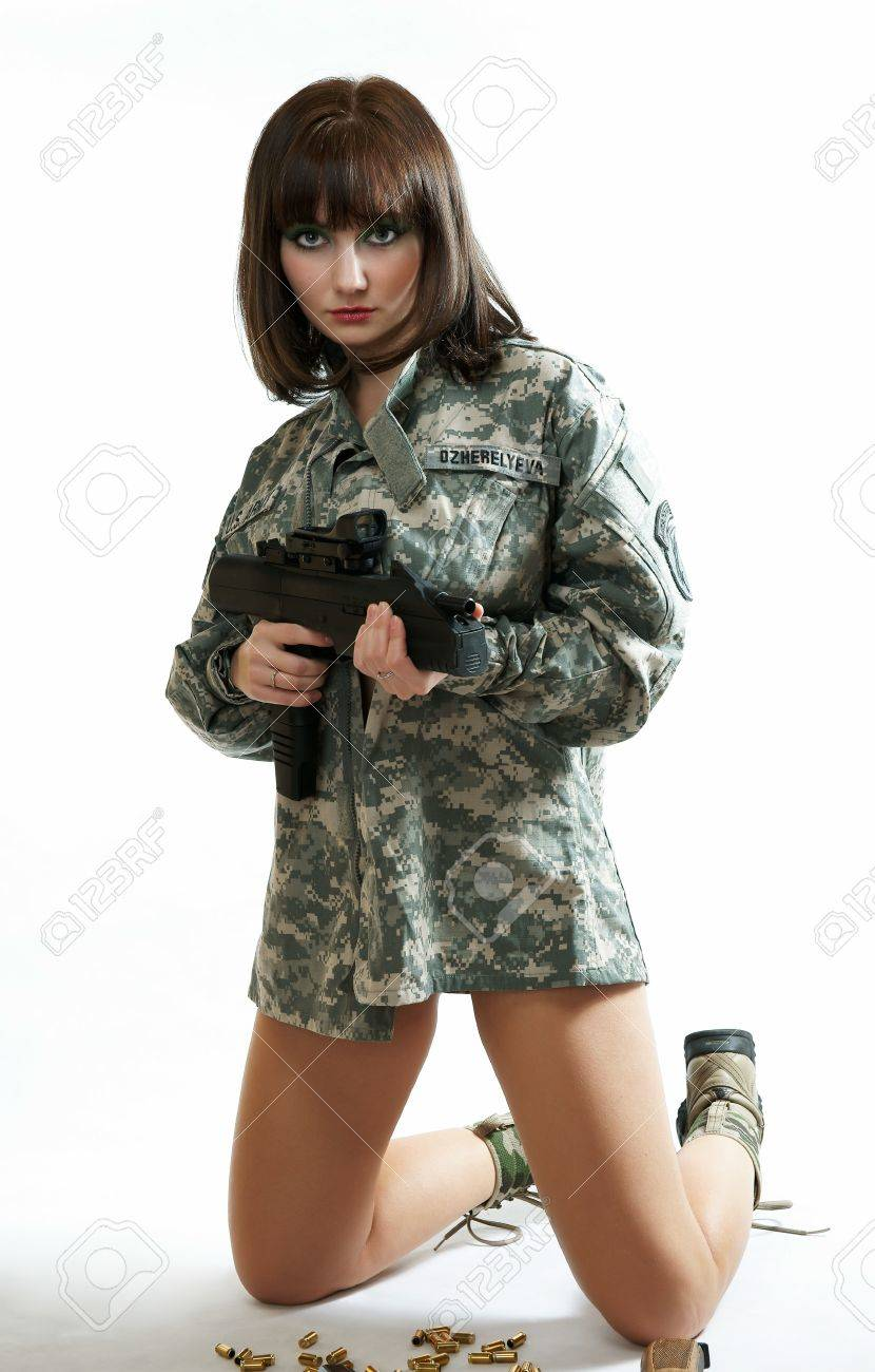 The sexy girl in the military form Stock Photo - 13403023