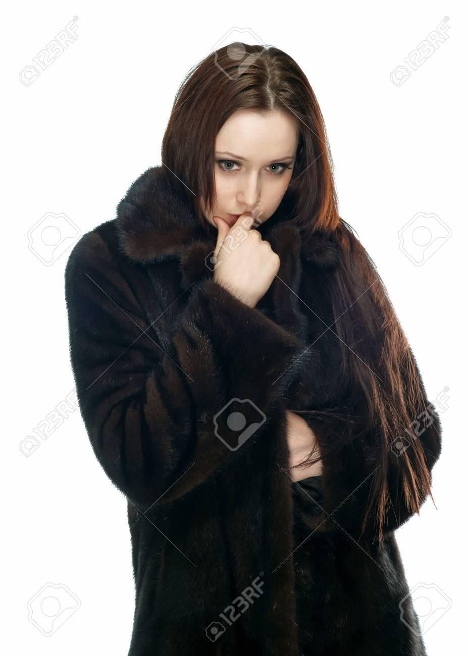 the sad girl in a fur coat Stock Photo - 13416129