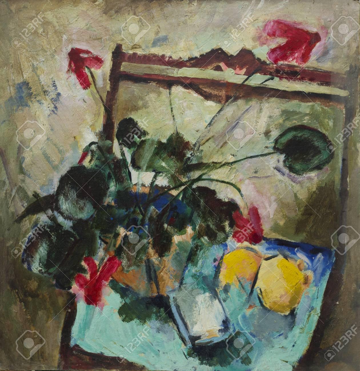 Lgemälde Stillleben Mit Blumen Und Zitronen Auf Dem Stuhl