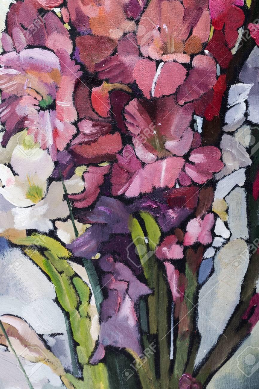 Oil painting still life with irises flowers on canvas with stock oil painting still life with irises flowers on canvas with texture in in the grayscale stock izmirmasajfo