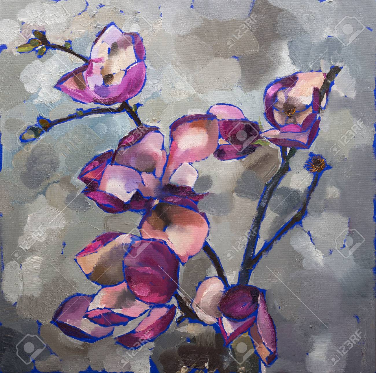 Oil Painting Still Life With Purple Magnolia Flowers On Canvas
