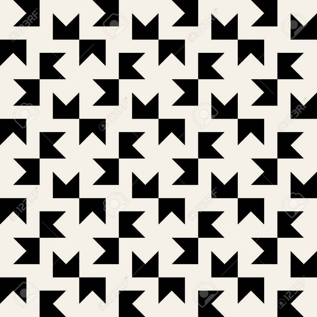 Seamless Black & White Geometric Square Tiling Pattern Background ...