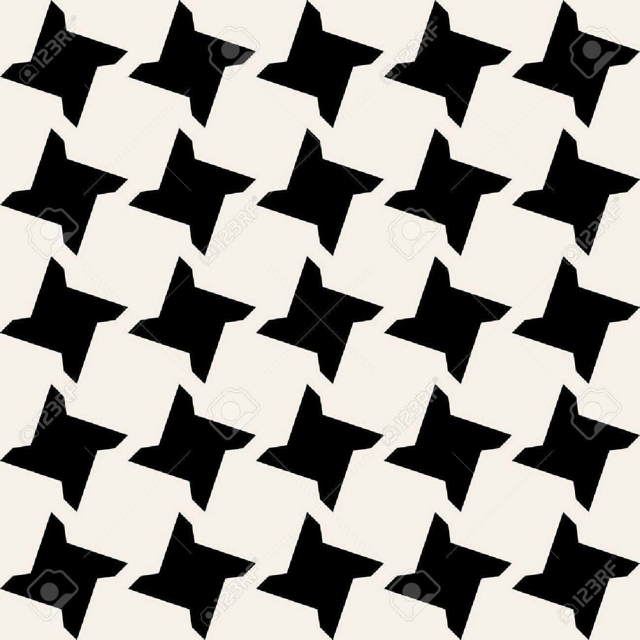 Seamless Black and White Geometric Star Tile Pattern Background - 46972413