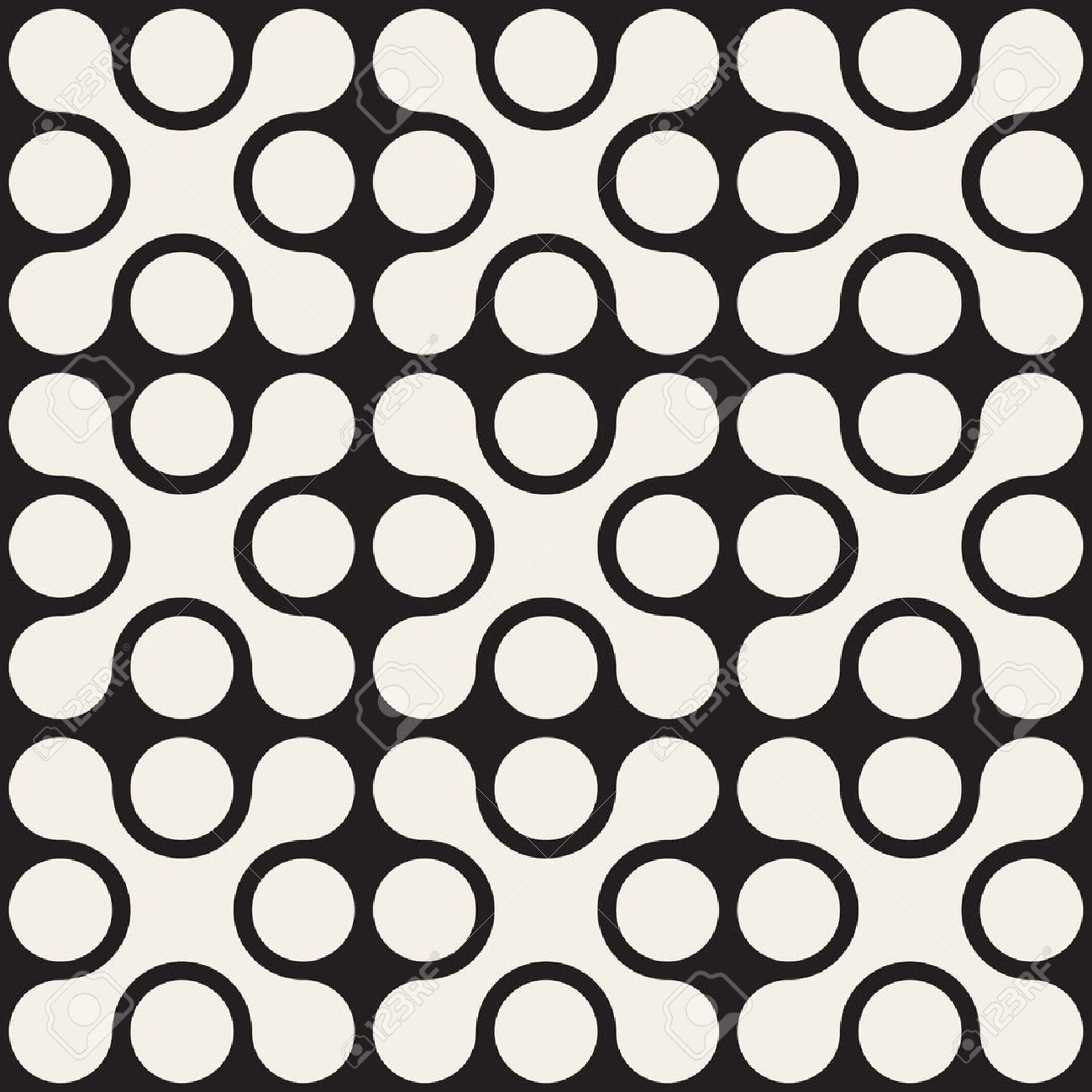 Vector Seamless Black And White Rounded Cross Square Pattern Abstract Background - 47484014