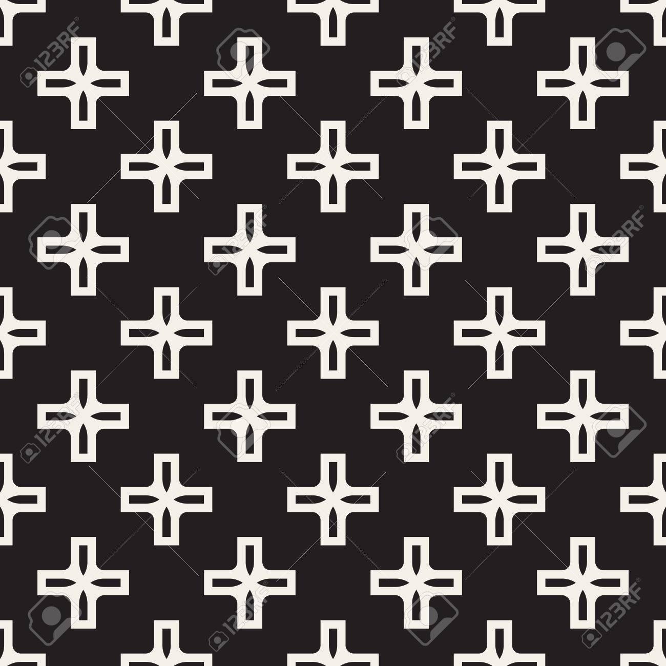 Vector Nahtlose Schwarzweiß Einfache Kreuz Quadrat Muster