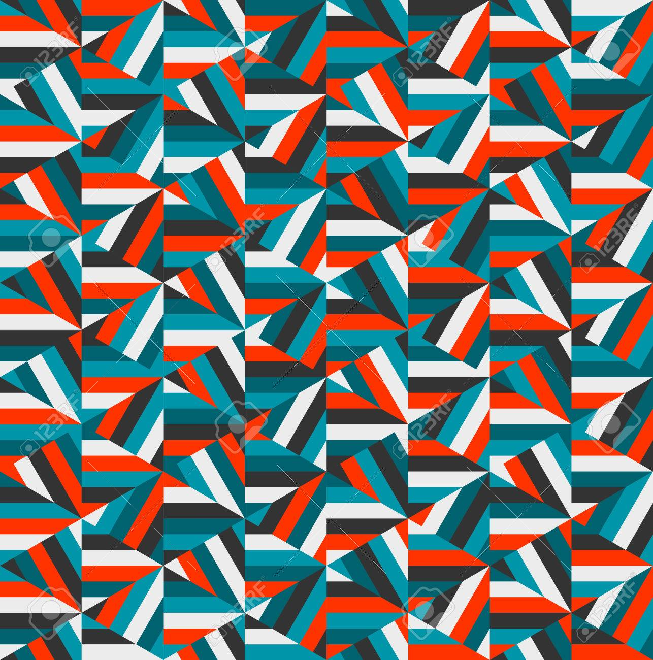 Vector Blue Red Triangle Random Stripes Geometric Pattern Abstract
