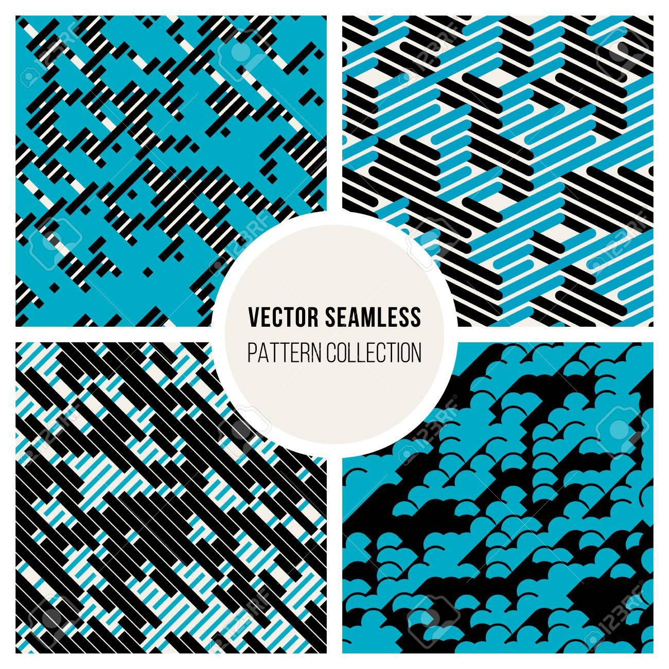 Vector Seamless Black White Blue Random Diagonal Parallel Lines Experimental Pattern Background - 51984908
