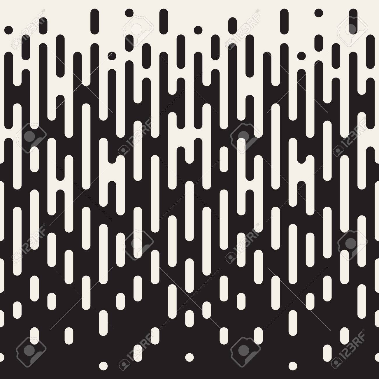 Seamless Black And White Irregular Rounded Lines Halftone Transition Abstract Background Pattern - 52579590