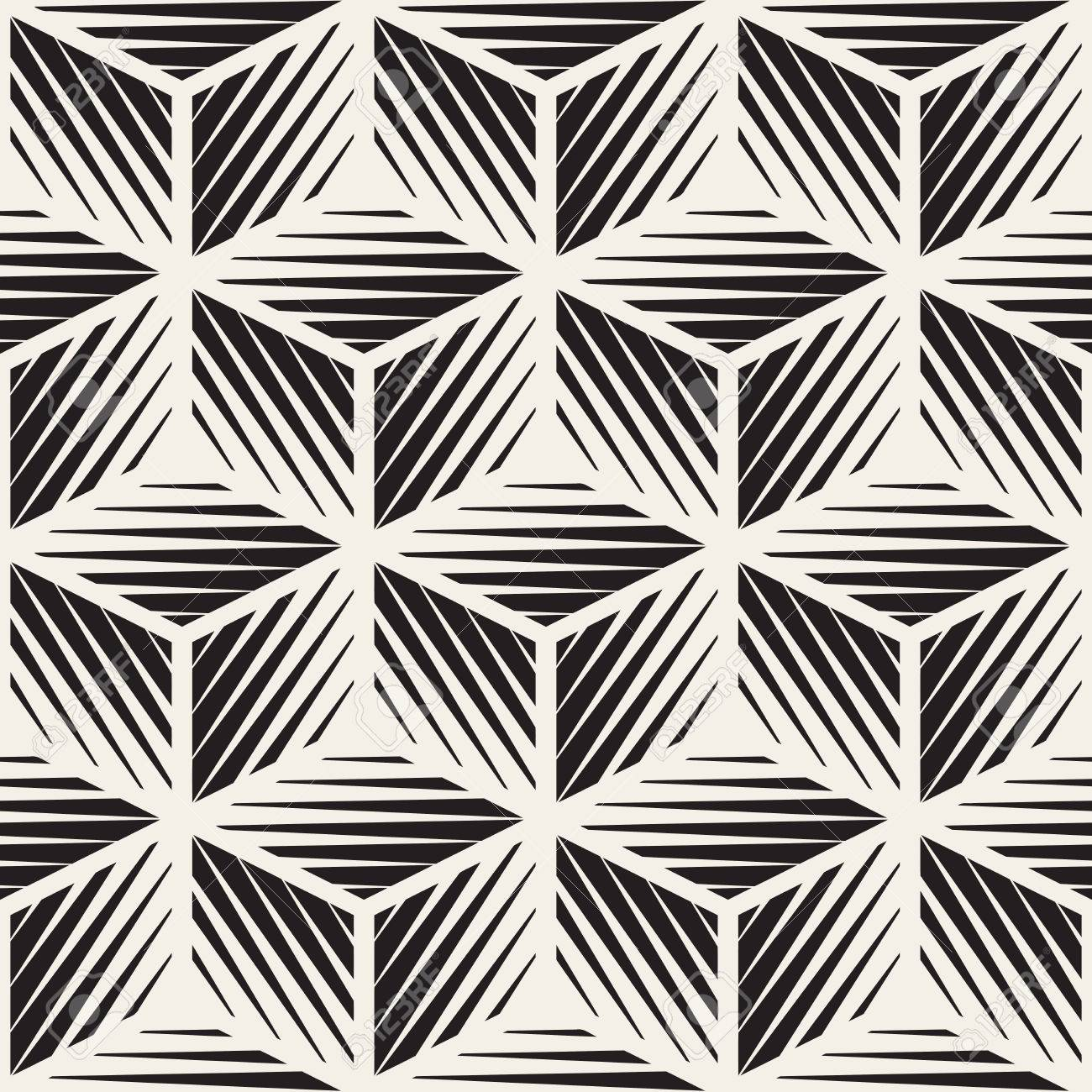 Seamless Black And White Cube Shape Lines Engravement Geometric Pattern . Abstract Background - 57884580